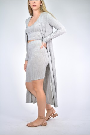 Wide Ribbed #PCS Cardigan Set