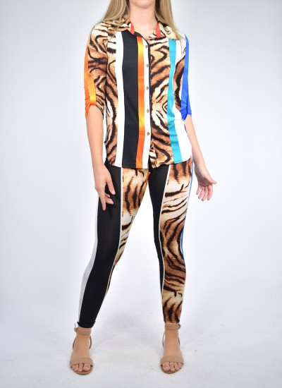 Multi color Jersey Pants Set