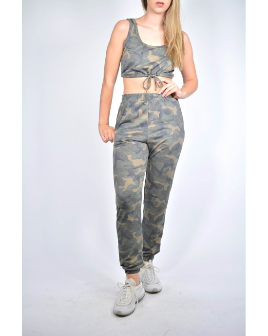 Round Neck Crop Top With Waist String and Pants Set