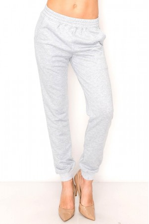 Comfy Solid Tie Front Sweat Pants