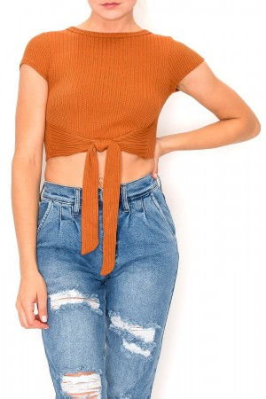 Front Knotted Round Neck Crop Top