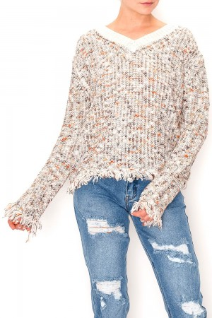 Textured Frayed Detail Sweater