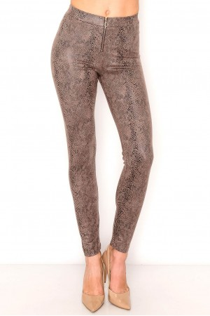 Foiled Suede Snake Print Leggings