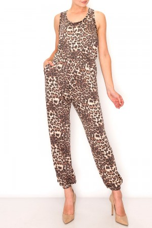 Leopard Crossed Back Maxi Jumpsuit