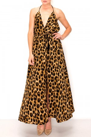Leopard Maxi Halter Neck Cardigan With Short Set