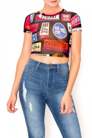Printed See Through Crop Top