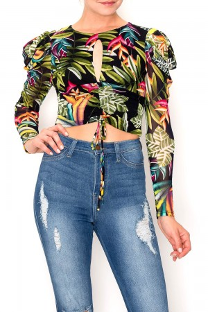 Tropical Long Sleeve With Puffed Shoulders Crop Top