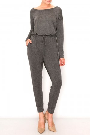 Round Neck Long Sleeve Jumpsuit