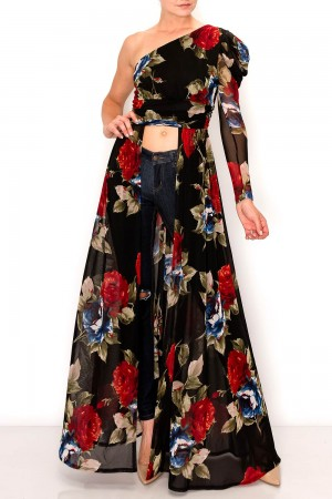 One Shoulder Floral Maxi Top