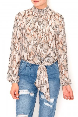 Snake Print Turtle Neck Blouse Top