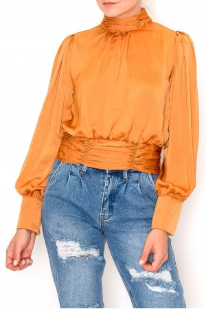 Turtle Neck Long Sleeve Knotted Back Blouse Top