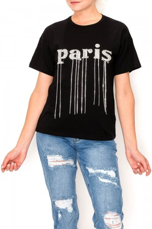 Paris Rhinestone T-Shirt Top