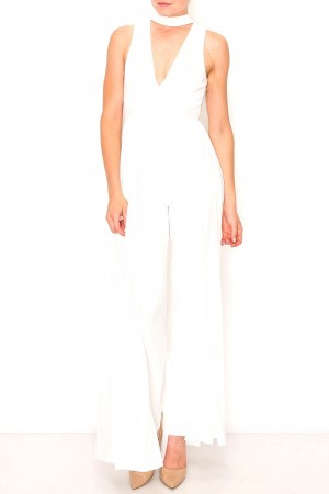 Collar With V-Neck Maxi Jumpsuit