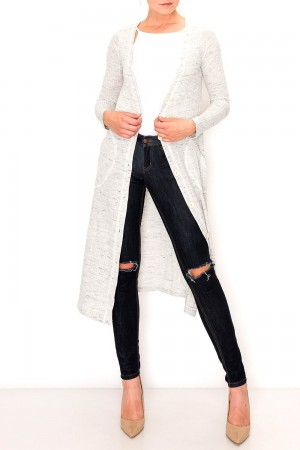 Two Tone Ribbed Knit Cardigan