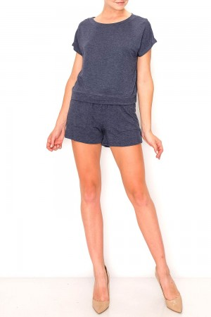 French Terry Boat Neck Top and Shorts Set