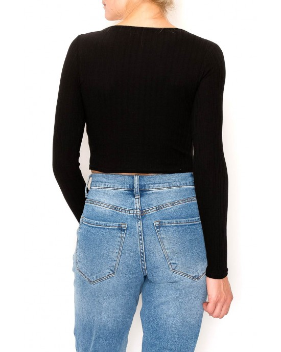 Rib Long Sleeve Front Tie Knit Top