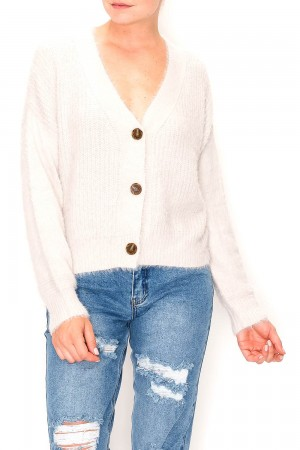 Button Up V-Neck Sweater