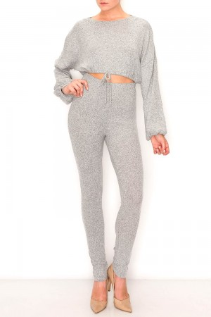 Hacci Brushed Rib Crop and Jogger Set
