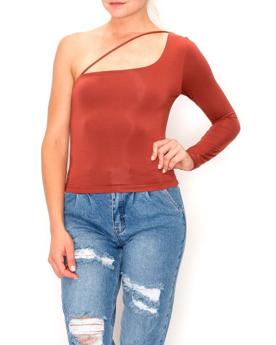 Rayon Modal Jersey Knit One Shoulder Top