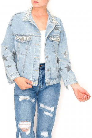 Pearled Star Shine Denim Jacket