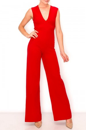 V-Neck Crossed Back Jumpsuit