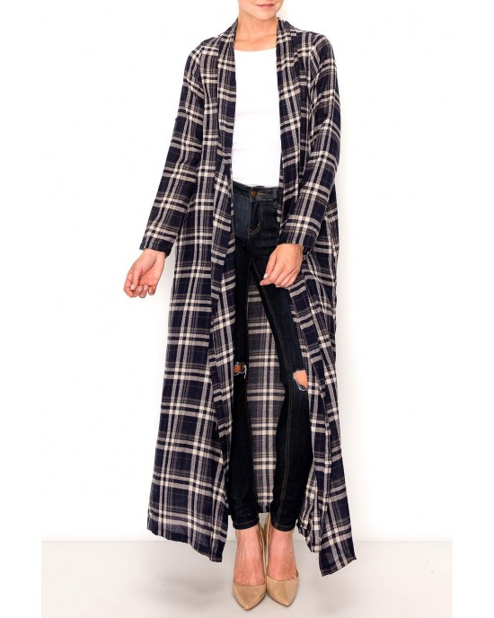 Maxi Open Plaid Shirt Cardigan