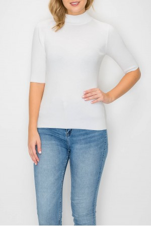 Turtle Neck Half Sleeve Sweater Top