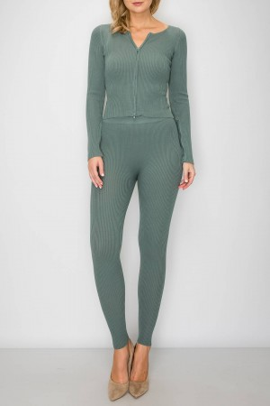 Zipped Up Top Very Tight Material 2 Piece Set