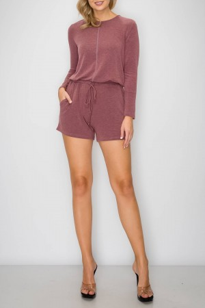 Long Sleeve Round Neck Romper