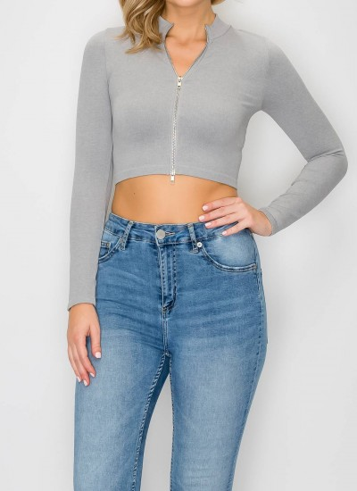 Long Sleeve Knit Top with Two Way Zipper
