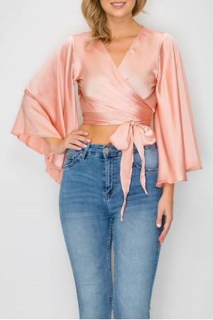 Satin Wrap Top with Bell Sleeve