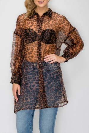 Animal Print Organza Button Down Oversized Shirt