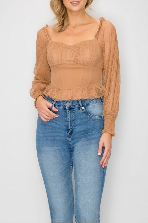 Textured Mesh Puff Sleeve Blouse Top