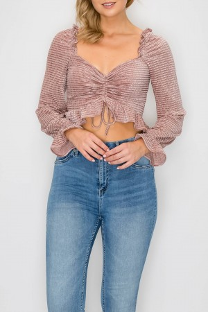 Ruched Textured Front Tie Top
