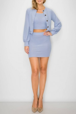 3 Piece Set Skirt, Top and Sweater