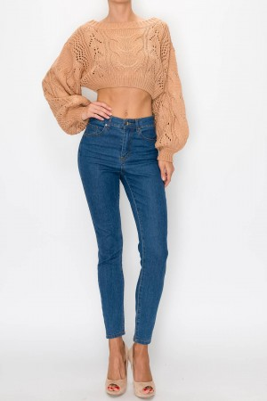 Balloon Sleeve Low Gage Crop Sweater