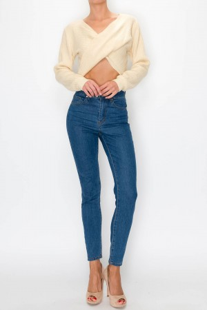Twisted Front Crop Sweater