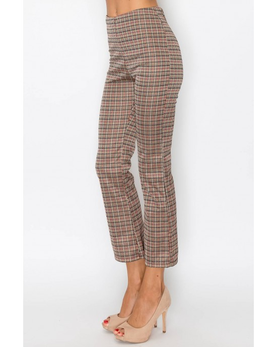 Brown Check Patterned Pants
