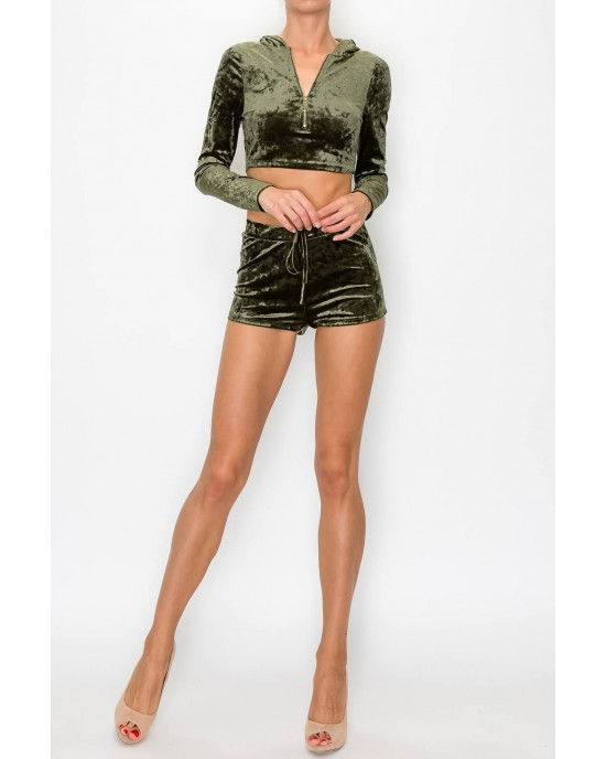 Cropped Hoodie and Shorts Set