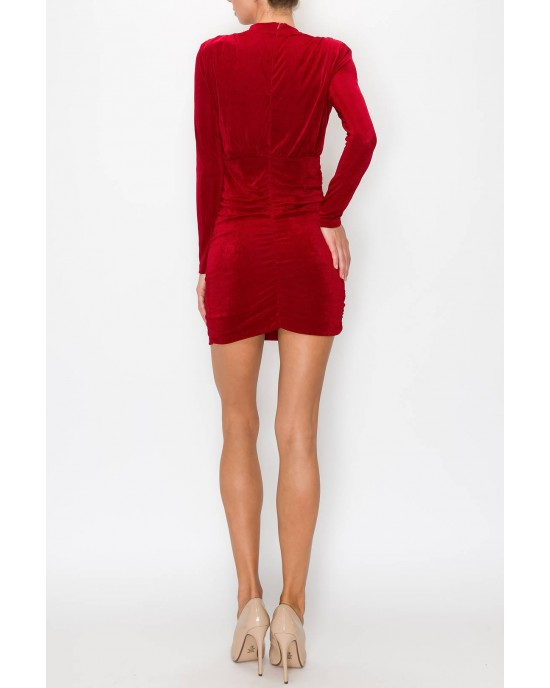 Shoulder Padded Side Draped Dress
