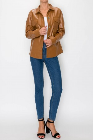 Front Two Pocket PU Jacket