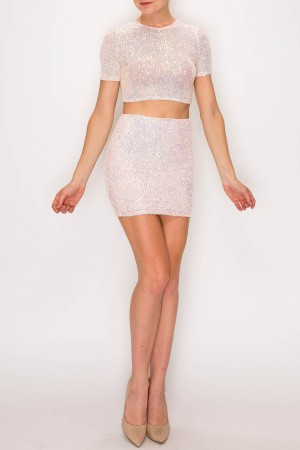 Spangled Mini Skirt Set
