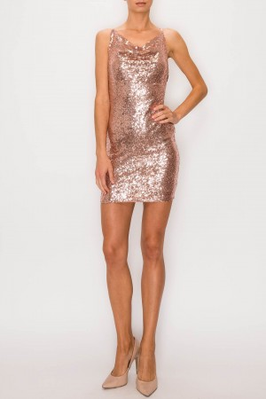 Sequined Crossed Back Dress