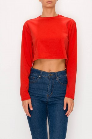 Boxy Crop Top Long Sleeve Top