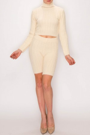 Angora Cropped Sweater Shorts Set