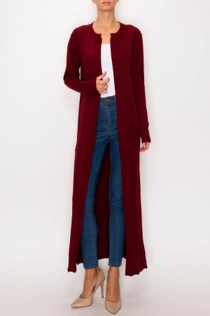 Maxi Buttonless Open Sweater Cardigan