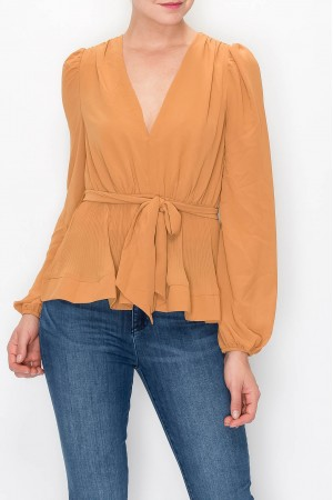 Deep V Neck Chiffon Blouse