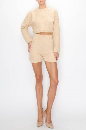 Soft Comfy Sweater Shorts Set
