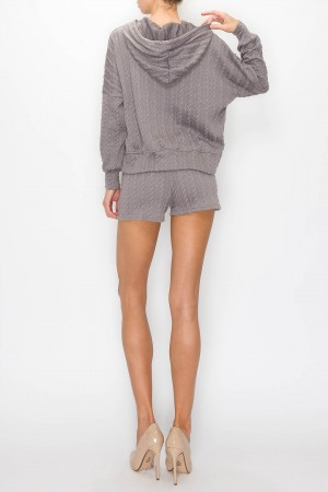 Cable Knit Hoodie Shorts Set