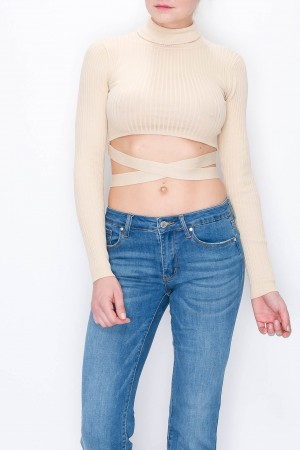 Turtle Neck Crop Top With Body String